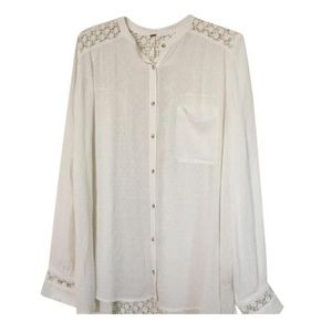 Free People Lace Button Down BoHo Blouse